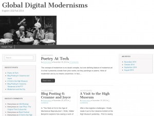 A screenshot of the course blog for Global Digital Modernism